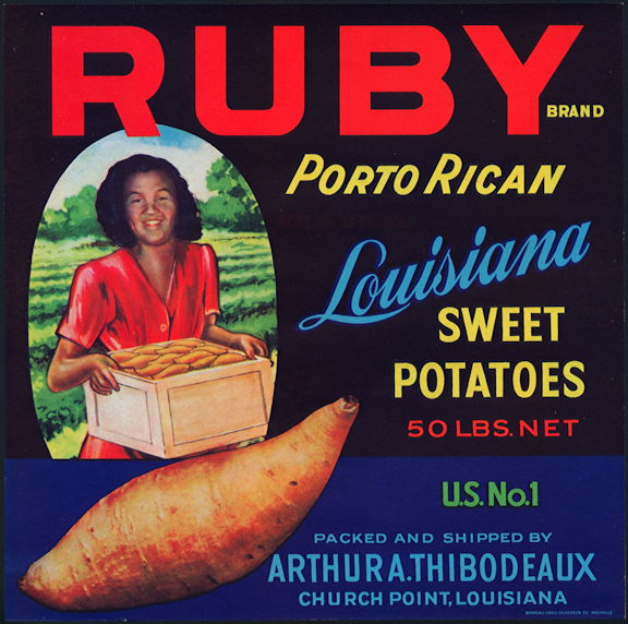 #ZLC032 - Ruby Porto Rican Sweet Potatoes Crate Label