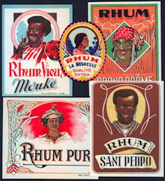 #ZLW250 - 5 Different Rum Liquor Labels - Black Interest
