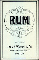 #ZLW159 - Very Old John H. Waters Rum Label