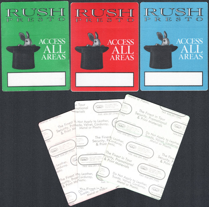 ##MUSICBP0798 - Group of 3 Different Rare Rush All Acess OTTO Cloth Backstage Passes from the 1990 Presto Tour