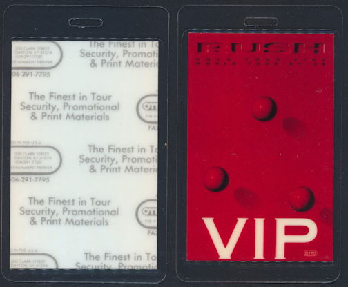 ##MUSICBP0315 - Rush Laminated Backstage Pass from the 1987 Hold Your Fire Tour