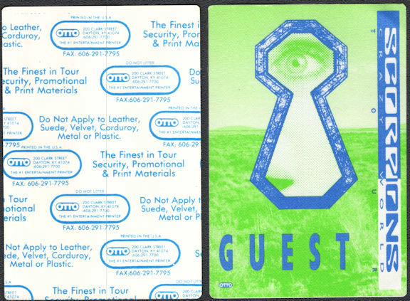 ##MUSICBP0650 - Scorpions OTTO Cloth Backstage Pass from the 1990 Crazy World Tour