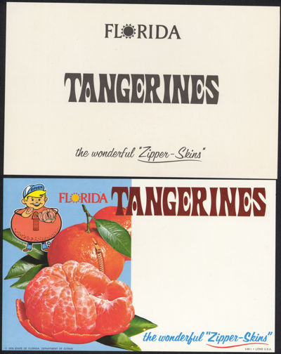 #SIGN116 - Cardboard Two Sided Florida Tangerines Zipper-Skin Sign
