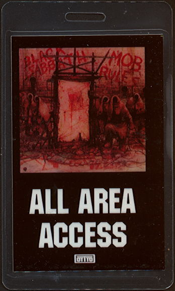 """##MUSICBP0471 - Black Sabbath Laminated OTTO Backstage Pass from the """"Mob Rules"""" Tour"""