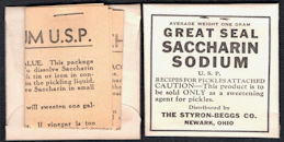 #CS445 - Group of 3 Full Packages of Great Seal Saccharin with Canning Note Attached