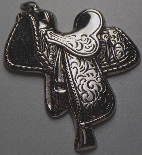 #BEADS0604 - Large Embossed Metal Western Saddle Stamping
