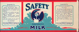 #ZLCA117 - Safety Brand Evaporated Milk Label