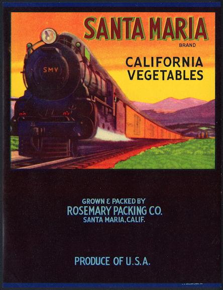 #ZLC410 - Santa Maria California Vegetables Crate Label with Santa Maria Valley Train