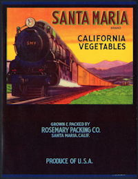 #ZLC410 - Santa Maria California Vegetables Crate Label with Santa Maria Valley Train