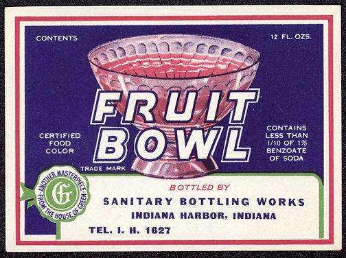 #ZLS124 - Sanitary Brand Fruit Bowl Soda Bottle Label