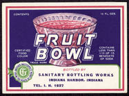#ZLS124 - Sanitary Brand Fruit Bowl Soda Bottle Label