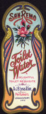 #ZBOT135 - Early Lynas San Remo Toilet Water Bottle Label