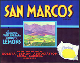#ZLSH011 - Group of 12 San Marcos Sunkist Lemon Crate Labels