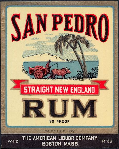 #ZLW163 - Scarce San Pedro Straight New England Rum Bottle Label