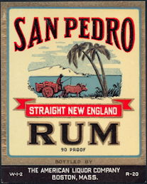 #ZLW163 - Scarce San Pedro Straight New England Rum Bottle Label