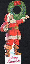 #CC358 - Coca Cola Bottle Hanger Picturing Santa with a Bottle of Coke