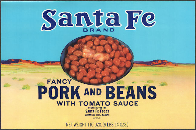 ZLSH208 - Group of 12 Very Large Santa Fe Pork and Beans Can Labels