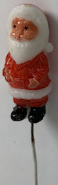 #HH147 - Group of 12 Old Hand Painted Hard Plastic Mini Santas on a Wire