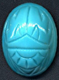 #BEADS0745 - Larger 20mm Turquoise Blue Scarab (Beetle) Glass Cabochon (U.S. Zone Germany) - As low as 50¢ each