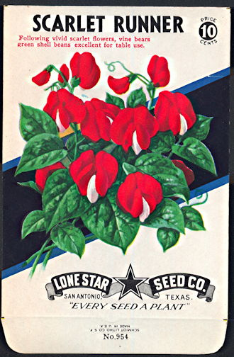 #CE029 - Brilliantly Colored Scarlet Runner Lone Star 10¢ Seed Pack - As Low As 50¢ each