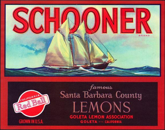 #ZLC218 - Schooner Lemon Crate Label