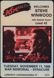 ##MUSICBP0339 - Steve Winwood Cloth Collector's Backstage Pass from the 1986 Concert in Syracuse, NY