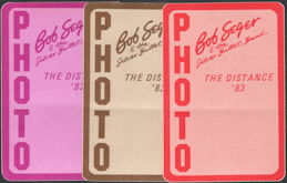 ##MUSICBP0099  - 3 Different Colored Bob Seger & the Silver Bullet Band OTTO Cloth Photo Backstage Passes from the 1983 The Distance Tour