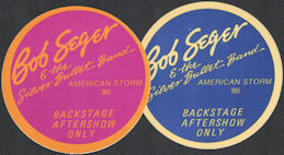 ##MUSICBP0097  - Pair of Bob Seger & the Silver Bullet Band Round 1986 American Storm Tour OTTO Cloth Backstage Passes
