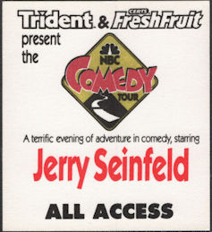 #CH376 - Jerry Seinfeld OTTO Cloth Backstage Pass from the 1991 NBC Comedy Tour