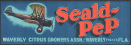 #ZLCA*074 - Seald-Pep Citrus Crate Label - Biplane - Waverly, FL