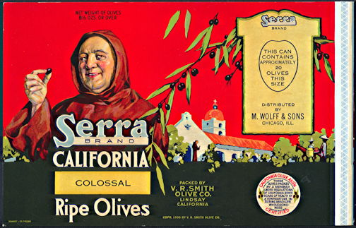 #ZLCA915 - Serra Brand California Olive Can Label
