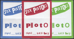 ##MUSICBP0589  - Set of Three Different Colored Sex Pistols OTTO Cloth Backstage Pass from the 1996 Filthy Lucre Tour