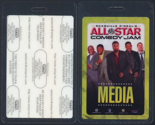 #CH360 - Laminated Pass from The Shaquille O'Neal All Star Comedy Jam 2012 Tour - As low as $3 each