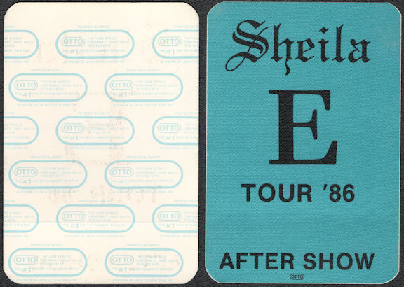 ##MUSICBP0653 - Sheila E OTTO Cloth Backstage After Show Pass from the 1986 A Love Bizzare Tour