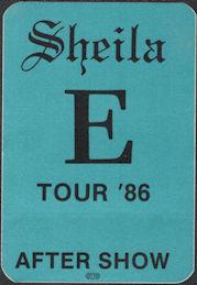 ##MUSICBP0653 - Sheila E OTTO Cloth Backstage Pass from the 1986 A Love Bizzare Tour