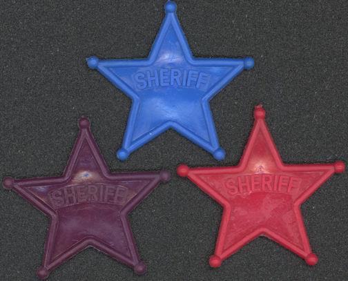 #TY453 - Groups of 10 Plastic Sheriff Dimestore Badges