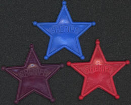 #TY453 - Groups of 10 Plastic Sheriff Dimestore Badges