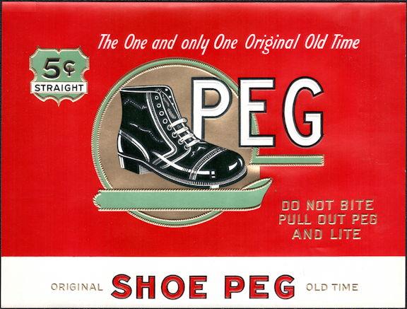 #ZLSC107 - Peg Inner Cigar Box Label - Old Time Shoe