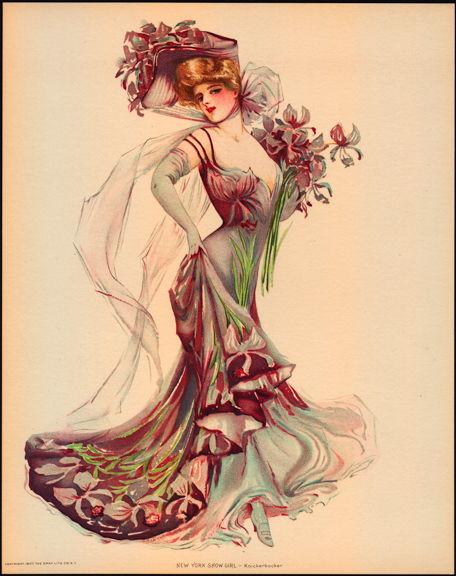 #MS162 - 1907 Victorian Print - New York Show Girl - Knickerbocker