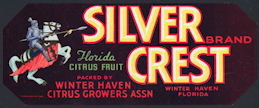 #ZLCA*027 - Silver Crest Florida Citrus Fruit Crate Label with Knight