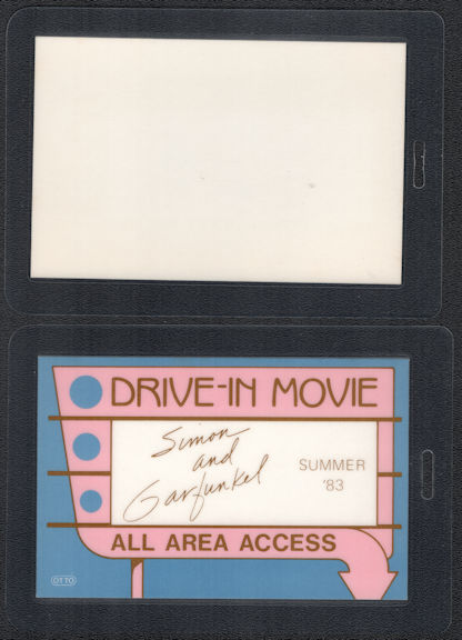 """##MUSICBP0590 - 1983 Simon and Garfunkel OTTO Laminated Backstage Pass from the """"Drive-in-Movie"""" Reunion Tour"""