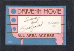 "##MUSICBP0590 - 1983 Simon and Garfunkel OTTO Laminated Backstage Pass from the ""Drive-in-Movie"" Reunion Tour"