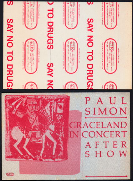 ##MUSICBP0390 - Uncommon Paul Simon OTTO Cloth Backstage Pass from the 1986 Graceland Tour