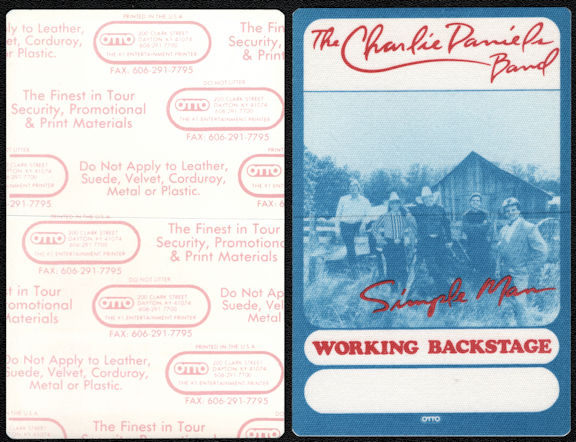 ##MUSICBP0667 - The Charlie Daniels Band OTTO Working Backstage Pass from the 1989 Simple Man Tour