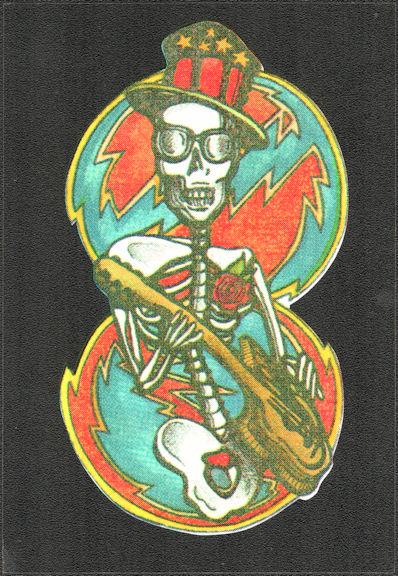 ##MUSICBP2034 - Grateful Dead Car Window Tour Sticker/Decal - Skeleton Playing Guitar