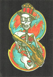 ##MUSICBP2034 - Grateful Dead Car Window Tour Sticker/Decal - Skeleton Playing Guitar