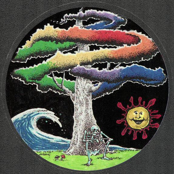 ##MUSICBP2032 - Grateful Dead Car Window Tour Sticker/Decal - Skeleton Smoking a Joint under a Rainbow Tree