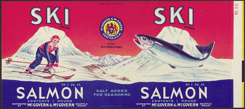 #ZLCA124 - Ski Salmon Label with Pretty Girl  Skiing Down Mountain