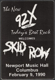 ##MUSICBP0654 - Skid Row OTTO Cloth Backstage Pass from the 1990 Skid Row Tour at Newport Hall in Columbus, Ohio