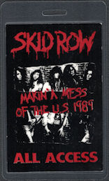 """##MUSICBP0561 - 1989 Skid Row OTTO All Access Laminated Backstage Pass from the """"Makin' a Mess of the U.S."""" Tour"""